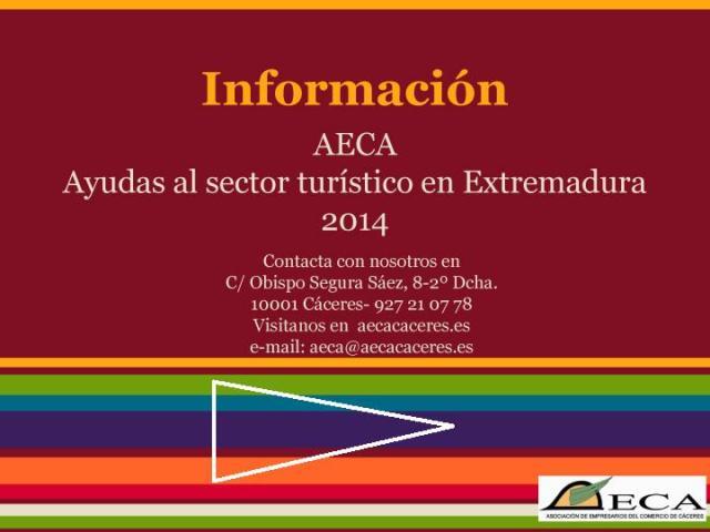 Información subvenciones para el sector turístico 2014-1