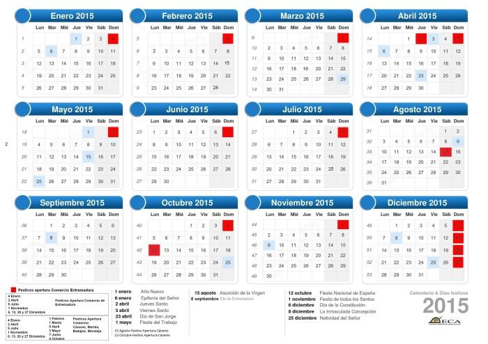 Calendario Festivos Apertura Comercio de Extremadura 2015