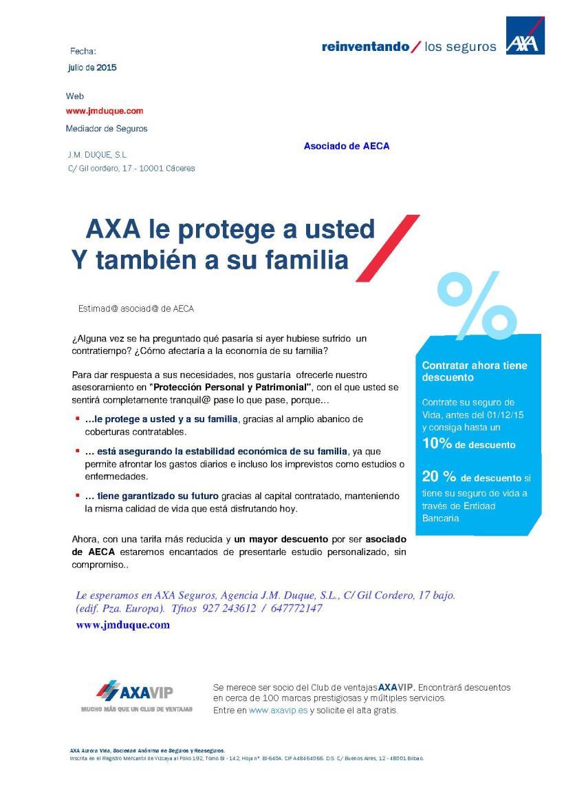 Axa y AECA  te aseguran tu futuro
