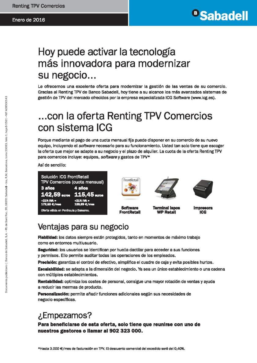 renting tpv comercio